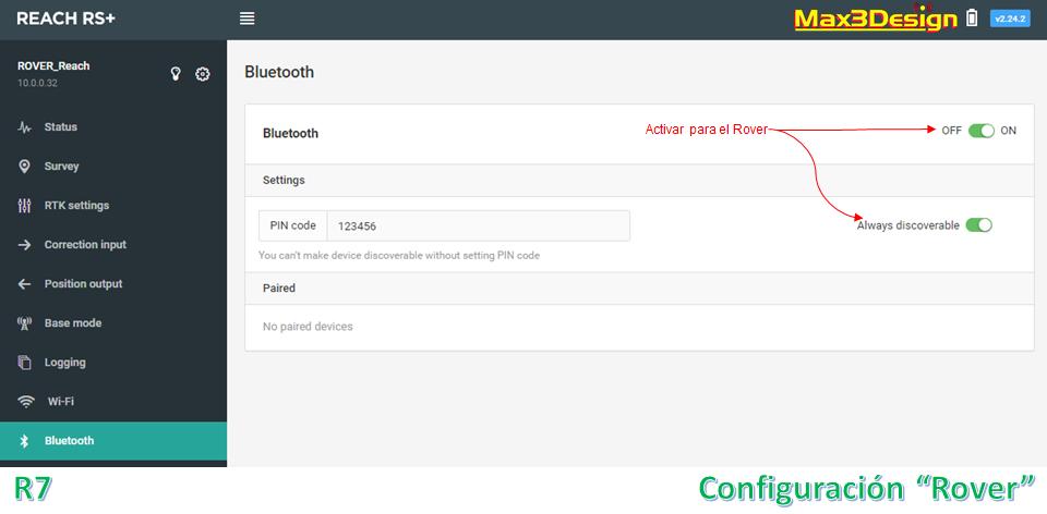 Configuración ROVER RS+